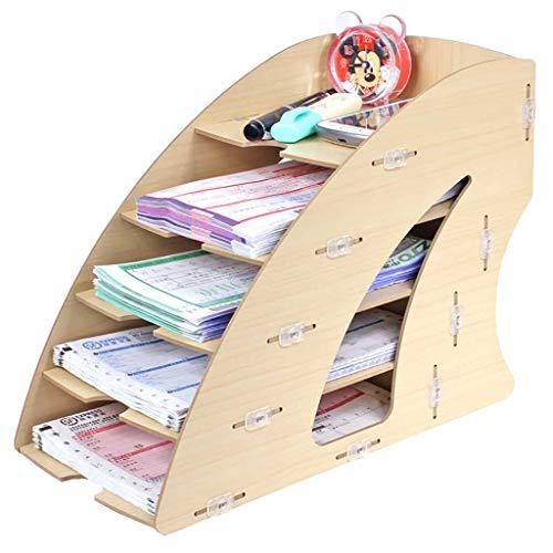 Du hui - Caja de almacenamiento multicapa de escritorio, estantería pequeña, estante de almacenamiento simple exprés, mini escritorio de almacenamiento para suministros de oficina, organizadores de archivos, suministros de oficina, 5 niveles, caja de almacenamiento de archivos de factura