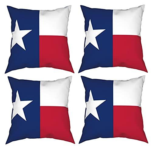 Mgbwaps Kissenbezug mit Texas-Staat-Flagge, 4er-Set, dekorative Kissenbezüge, 50,8 x 50,8 cm, quadratische Kissenbezüge, Kissenbezug für Couch, Sofa, Wohnzimmer