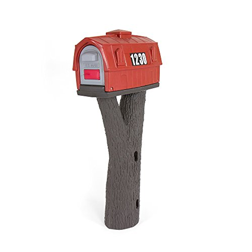 Simplay3 Rustic Red Barn Plastic Post Mount Mailbox