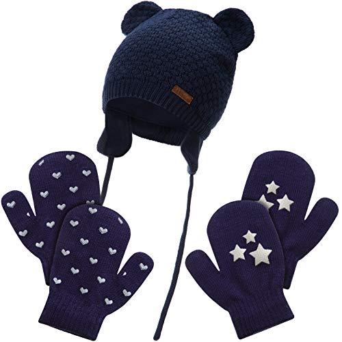 Conjunto de Mitones Sombrero de Bebé Gorro de Invierno en Forma de Oso con Orejeras Guantes Tejidos de Dedos Completos para Niños Niñas (Armada)
