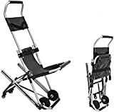 FTFTO Living Decoration Ambulance Chair Folding Wheelchair Light Weight Folding Ambulance Chair Transfer Emergency Evacuation Chair up and Down Stair Stretcher with a Seat Belt and 4 Wheels