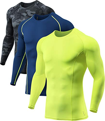 ATHLIO Men's Long Sleeve Compression Shirts, Active Sports Base Layer T-Shirt, Athletic Workout Shirt, 3pack(bls01) - Camo Black/Navy/Neon, Large