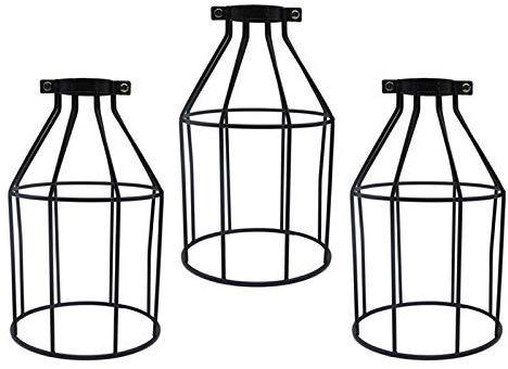 FSLiving - Juego de 3 protectores de lámpara de metal, para lámpara colgante, portalámparas, ventilador de techo, bombilla vintage estilo abierto, jaula ajustable en calidad industrial