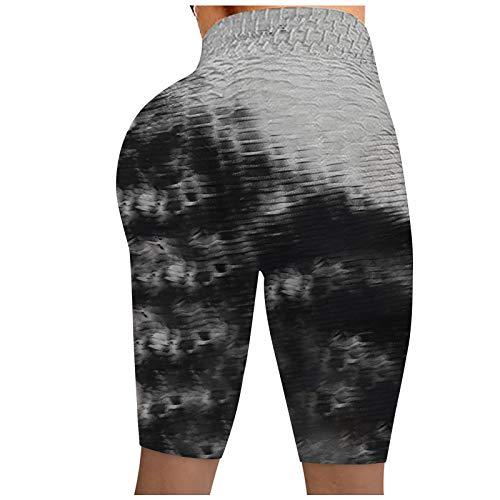 Pantalón Cortos Deportivos Tie-Dye de Cintura Alta Pantalones de Deporte Casual Shorts Push Up Leggins Transpirables Elásticos Mallas de Yoga Ideal para Running Fitness y Estiramiento
