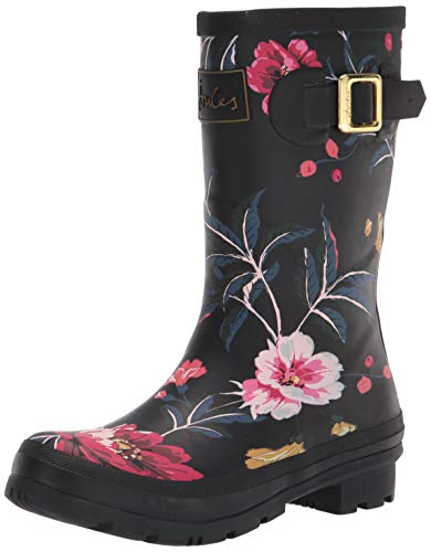 Joules Women's Molly Welly Rain Boot, Black Floral 1, 10
