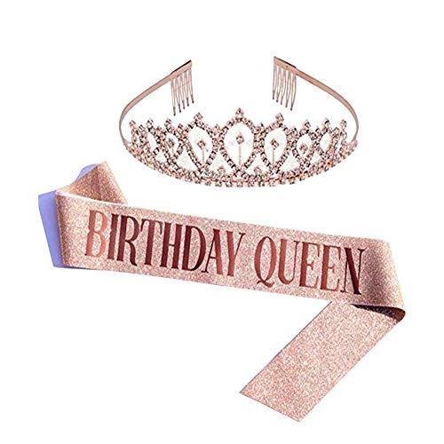 Oro Rosa Glitter Compleanno Tiara Corona, Birthday Queen fusciacca gadget per Decorazioni festa di compleanno Regali per ragazze donna 16 ° 18 ° 21 ° 30 ° 40 ° 50 ° 60 anni compleanno