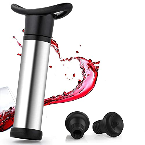 BOZHUO Ahorro de vinos de vacío y conservante, Bomba con 2 Tapones de vacío, Bomba de Acero Inoxidable + 2 Tapones de Vino