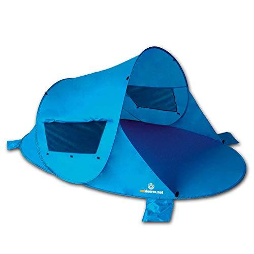 outdoorer Pop up Strandmuschel Zack Premium - Wurfmuschel mit UV 80 Sonnenschutz am Strand und Windschutz, großes Strandzelt