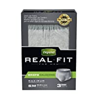 Depend Real Fit for Men Incontinence Briefs, Maximum Absorbency, Small/Medium, 3 Count by Depend