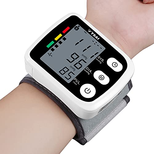 Wrist Blood Pressure Monitor, TSAI Automatic BP Monitor Irregular Heart Beat Detection Cuff , Large Display Dual Users Mode for Home Use(Black)
