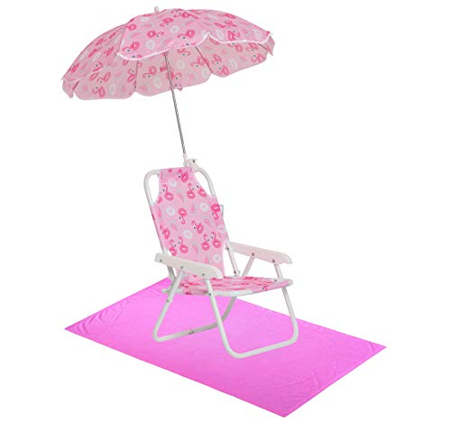 Girls' Flamingo Swim Essentials - Girls Beach Chair with Umbrella and Towel OS