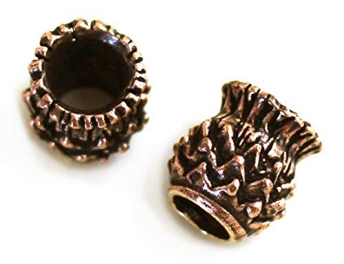 LynnAround Bronze Norse Scottish Thistle Cirsium Flower Beard Beads Rings, Dwarven Dreadlock Pirate Medieval Hair Beads, Pagan Charm Jewelry
