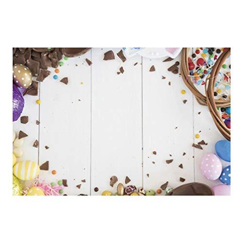 Imikeya 3D-fotoachtergrond Pasen chocolade paaseieren bedrukt voor babyfoto's decoratie voor Pasen 120 x 150 cm, Afbeelding 1, 210 150cm *