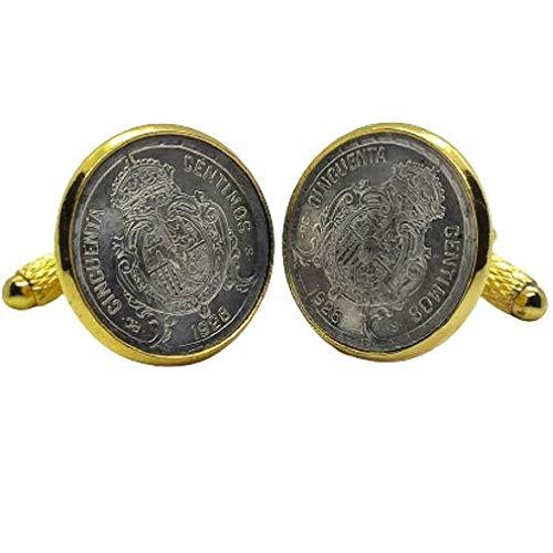 Gemelos para camisa: Genumis España - Moneda 50c peseta 1926 Plata Es