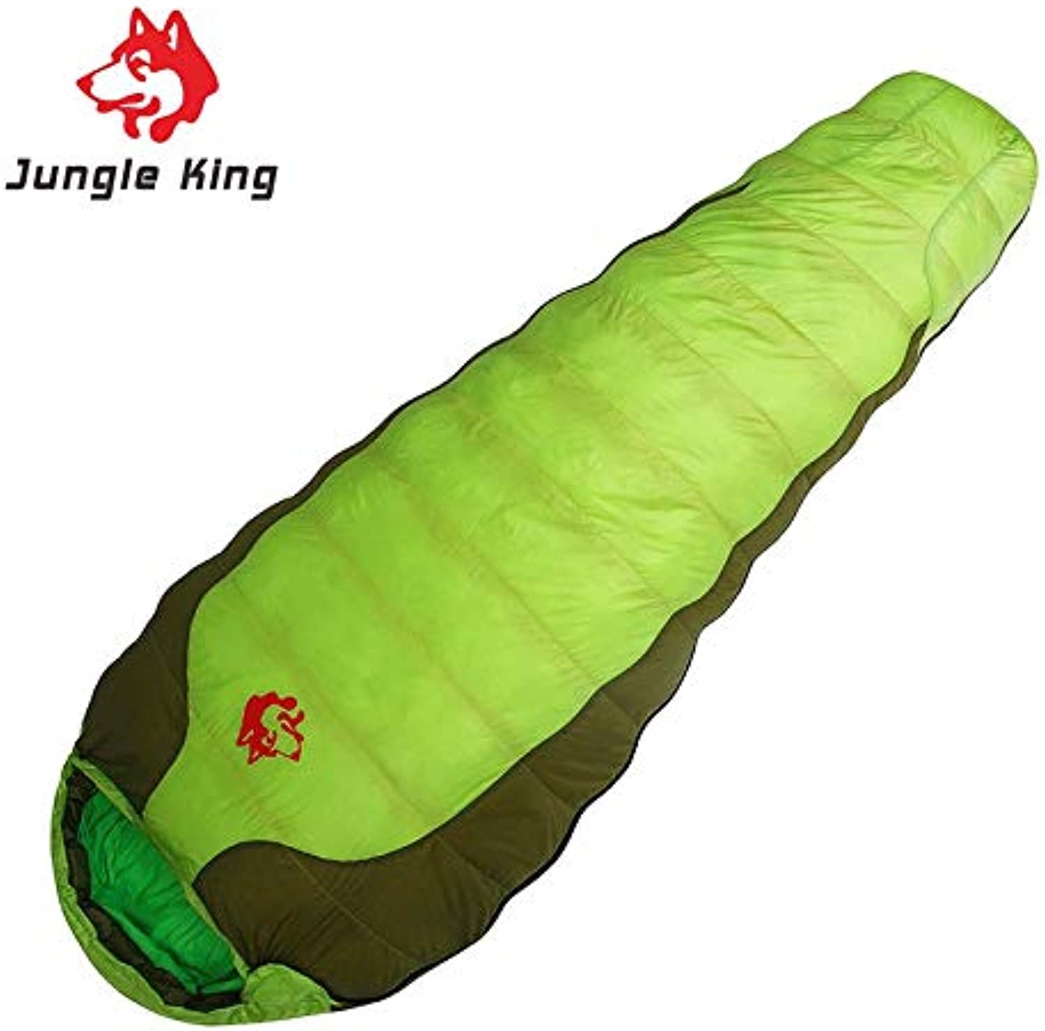 Jungle King CY-770 Duck Down Nylon Camping Travel Envelope Sleeping Bag Fruit Green