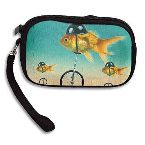 Wallet Purse,Goldfish con Casco Divertido Billetera De Neopreno De Carreras De Bicicletas,...