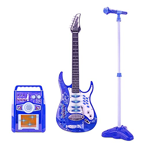 Kids Karaoke Microphone Guitar Musical Set Kids Electric Guitar Microphone Amplifier Set Karaoke Machine Musical Instruments Toy Electric Guitar with Microphone for Boys and Girls (Ship from USA)