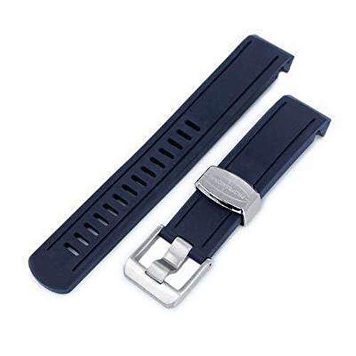 Cinturino cinturino in caucciù 20mm Crafter Blue - Cinturino in caucciù curvo in gomma blu navy per Seiko Sumo SBDC001