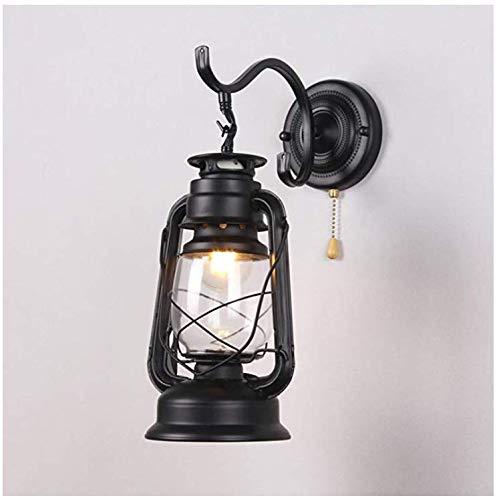 Wandleuchte Retro Industrie Wandleuchte Glas Lampenschirm Metall Schmiedeeisen Petroleum Wandleuchte Außenleuchte Innenwandleuchten-schwarz 20x40cm [Energieklasse A ++]
