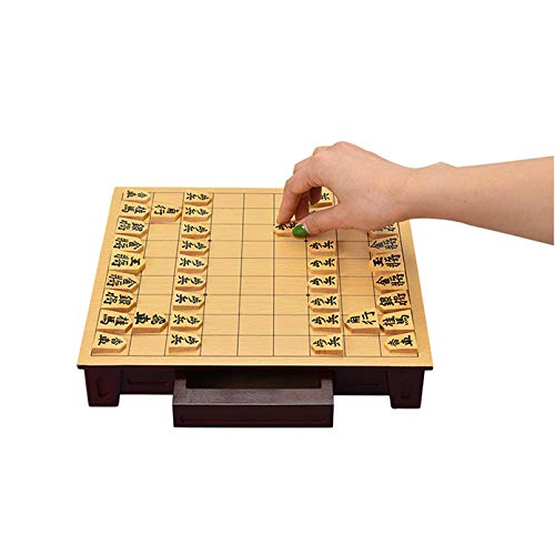 Cutfouwe Shogi Board-Spiel, Shogi Japanisches Schachspiel, Holzbrett Mit Schubladen Und Traditionellen Koma-Spielstücken,Boxwood,27x25x5cm