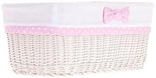 Corbeille en osier blanc,panier en osier,Corbeille de rangement,housse amovible, lavable, doublure coton motif blanc et rose