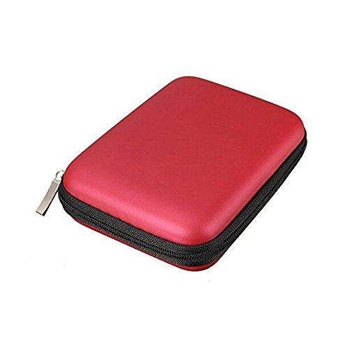 Access-Discount-Custodia rigida antiurto con cerniera, per hard disk esterni portatili da 2,5   rosso