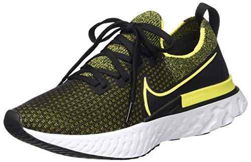 Nike Herren React Infinity Run Fly Knit Straßen-Laufschuh, Black/Sonic Yellow-White-Anthr,44.5 EU