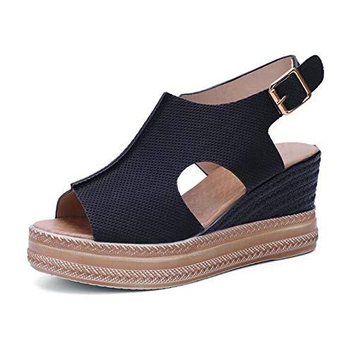 WODETIAN Sandalias de Vestir Sandalias Mujer Verano Plataforma Cuñas Alpargatas Esparto Cuña Zapato Hebilla Punta Abierta Comodas Chanclas Antideslizantes Zapatos de Playa,Negro,38