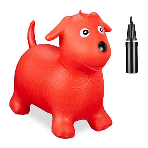 Relaxdays Hüpftier Hund, inklusive Luftpumpe, Hüpfhund bis 80 kg, Hopser BPA frei, für Kinder, Hüpfspielzeug, rot