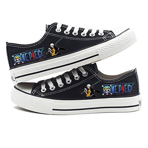 Zapatillas Canvas de Lona Unisex One Piece Anime Casuales Zapatos de Lona con Cordones