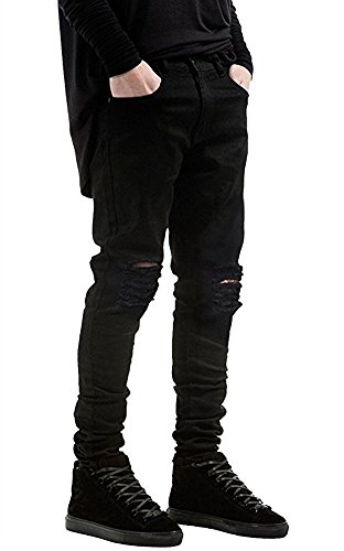 HANIOCAL Men's Slim Fit Black Stretch Destroyed Ripped Skinny Denim Jeans Black W28