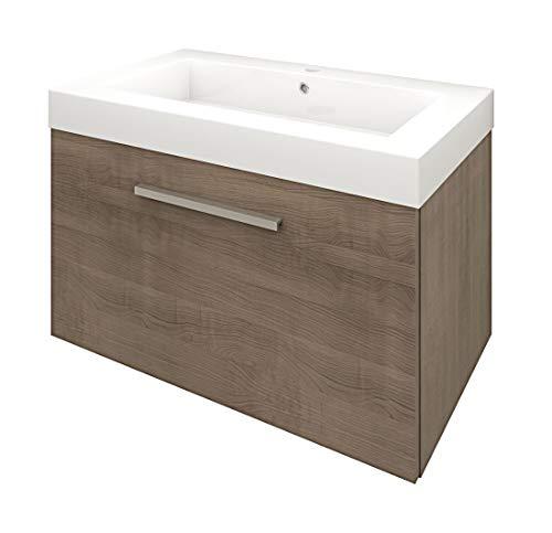 Preisvergleich Produktbild AcquaVapore Waschtisch mit Waschbecken,  Unterschrank City 100 80cm braun Eiche