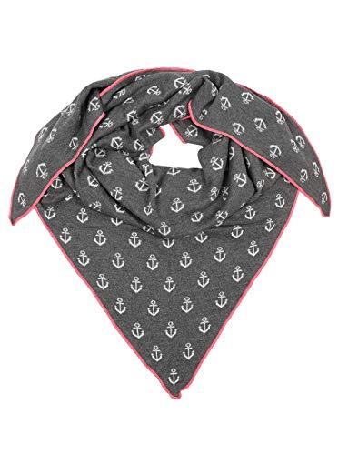 Zwillingsherz Zwillingsherz Dreieckstuch mit Baumwolle - Hochwertiger Schal mit Anker Print für Damen Jungen Mädchen - XXL Hals-Tuch und Damenschal - Strick-Waren - für Winter Sommer von Cashmere Dreams gra/pin