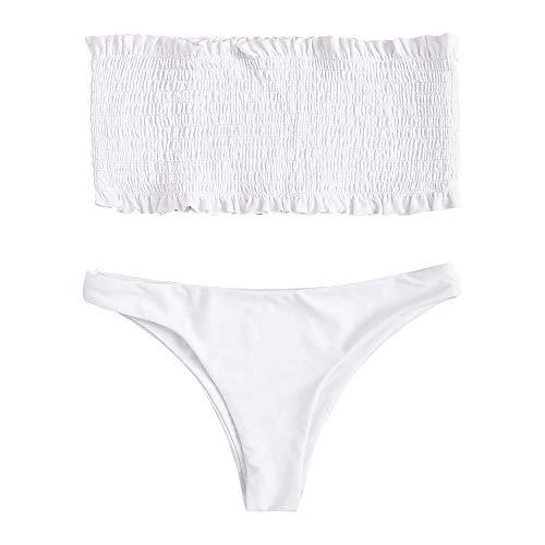 FUPOZ Damen Bikini-Set Gestreiftes Bikini Set mit Rüschen Bikiniset Bandeau Bademode (030Weiß,L)