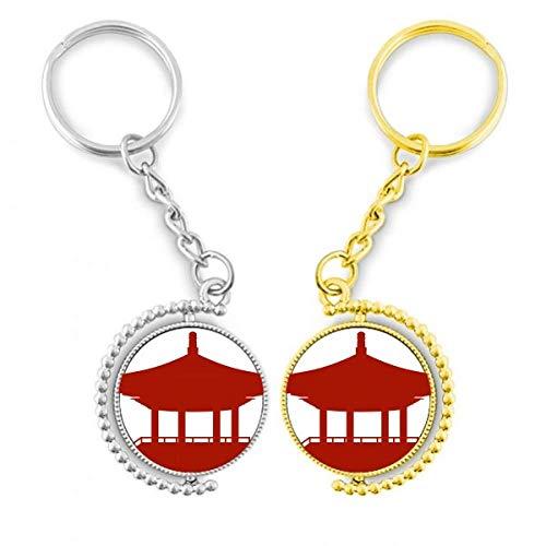 DIYthinker chinesischer Pavillon Kultur Silhouette Mode Ring Metall vergoldet Tür – Schlüssel
