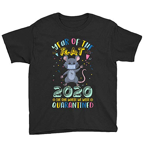 Vintage Year of The Rat 2020 The One Where We were Quarantined Funny Youth T-Shirt Novelty Funny Graphics Short Kid Unisex Tee Shirts