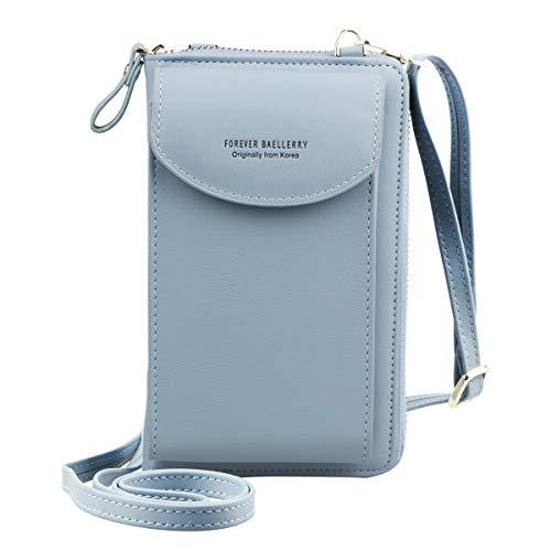 Jangostor Billetera pequeña con bolso de Crossbody, bolso para el teléfono celular con ranuras para tarjetas de crédito (Sky Blue)