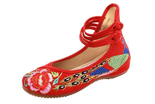 XFentech Femmes élégant Chaussures Brodées Wedge Toile Phoenix Pattern Sandales Mary Jane Chaussures