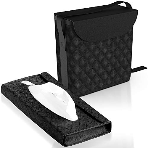 Luxxe - Refined Leather Car Trash Can - Car Garbage Can with Matching Tissue Box - Car Trash Container Water Proof - Car Trash Bag Machine Washable - Car Trashcan - Car Garbage Bag & Car Trash Bin…