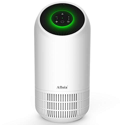 Afloia Purificateur d'air Portable avec Filtre HEPA et Filtre à Charbon Actif, Veilleuse LED de 2 Luminosité, 3 Vitesses de Vent, 2/4/8H Minuterie, Ultra Silencieux pour Maison Bureau Chambre by