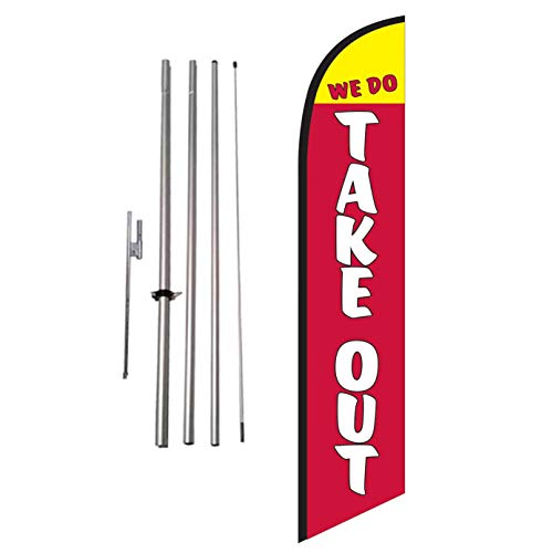 We Do Take-Out Restaurant Advertising Feather Banner Swooper Flag Sign with Flag Pole Kit and Ground Stake, Delivery, Drive-Thru, Curb Side Signs