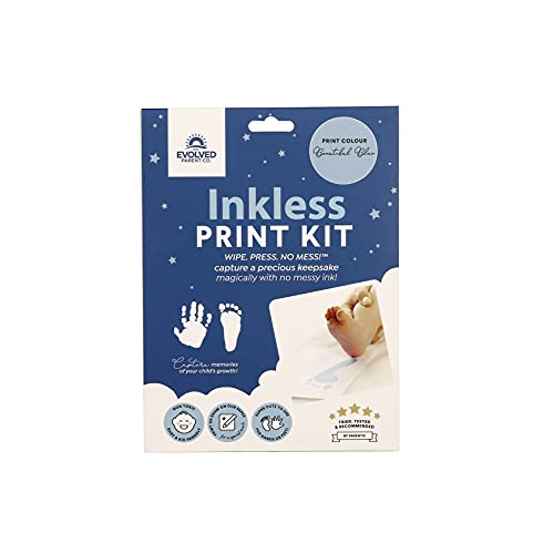 BABYink Ink-Less Baby Hand and Foot Print Kit   Safe and No Mess   Ink-Less Wipe and 4 Imprint Cards   Safe Print Kit for Babies or Pets   The Perfect Keepsake (Blue)
