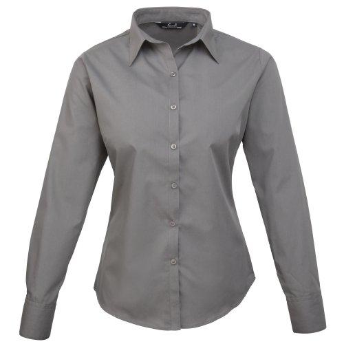 Camicia da lavoro da donna, in popeline a manica lunga, tinta unita Dark Grey 48