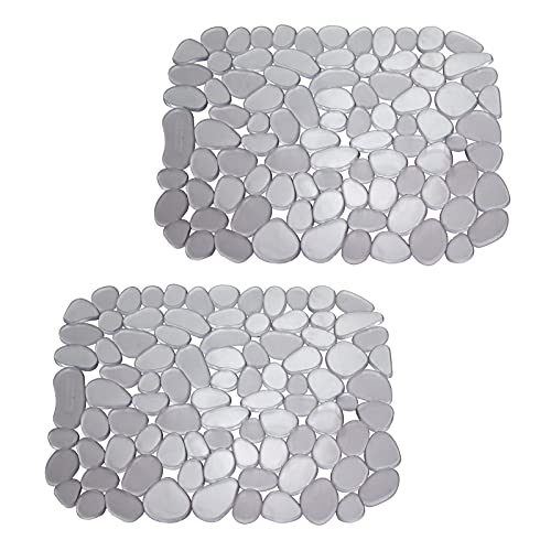 mDesign Juego de 2 protectores de fregadero – Alfombrillas escurreplatos de PVC – Protectores de plástico recortables para evitar arañazos en el fregadero – Diseño de guijarros – gris grafito