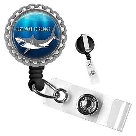 Christmas Shark Retractable Badge Reel Name Tag Holder for Work ID