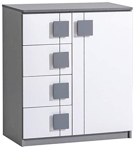 Furniture24 Kommode Gumi G3 Schubladenkommode mit 4 Schubladen und 1 Tür für Kinder und Jugendzimmer (Anthrazite/Brillant Weiß)