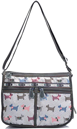 BEKILOLE Cross Body Bag for Women and Girls Water resistant Ripstop Nylon Durable & Stylish Everyday Bag/Purse (Dog)