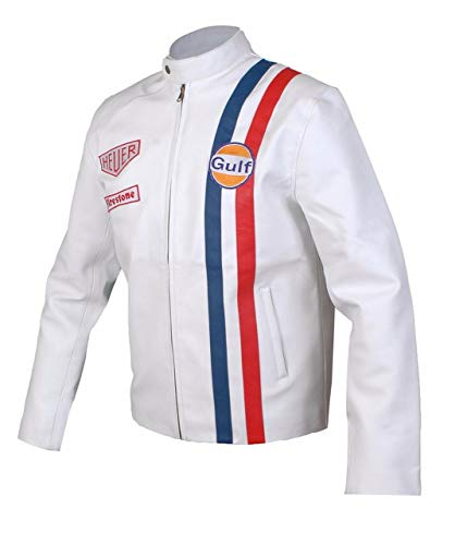 Feather Skin Giacca Uomo Le Mans Steve McQueen Gulf White Sintetico Pelle Giacca- 5XL