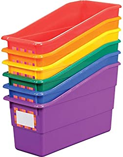 Really Good Stuff Durable Magazine, Book, Folder, File and Binder Holders – Ideal for Narrow or Vertical Storage Needs – Instantly Color Code Your Classroom – Assorted Primary Colors (Set of 6)