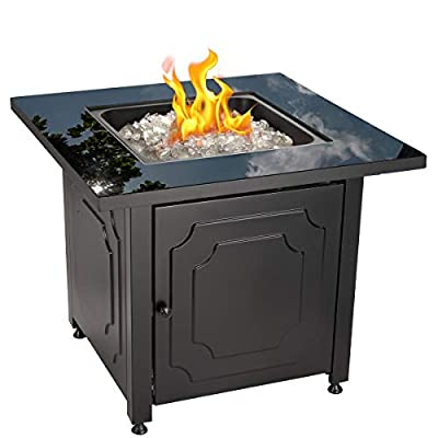 "Endless Summer 30"" Outdoor Propane Gas Black Glass Top Fire Pit (White Fire Glass)"